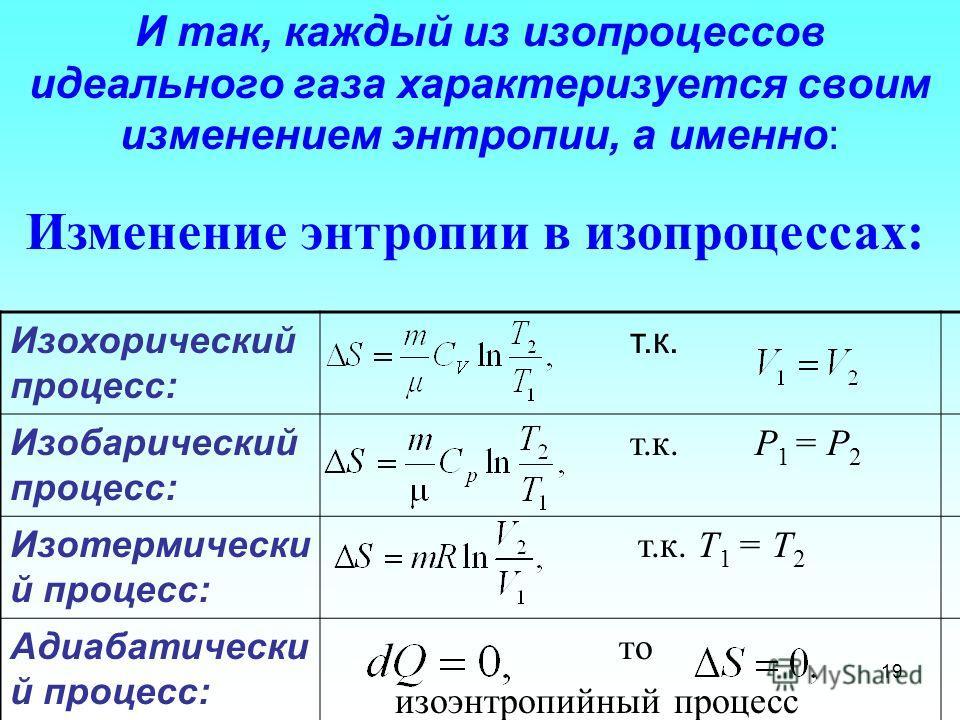 Изохорический процесс: т.к. Изобарический процесс: т.к. P 1 = P 2 Изотермически й процесс: т.к. Т 1 = Т 2 Адиабатически й процесс: то изоэнтропийный процесс Изменение энтропии в изопроцессах: 19 И так, каждый из изопроцессов идеального газа характери