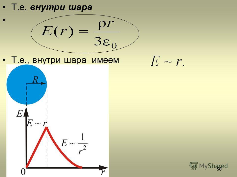 Т.е. внутри шара Т.е., внутри шара имеем58
