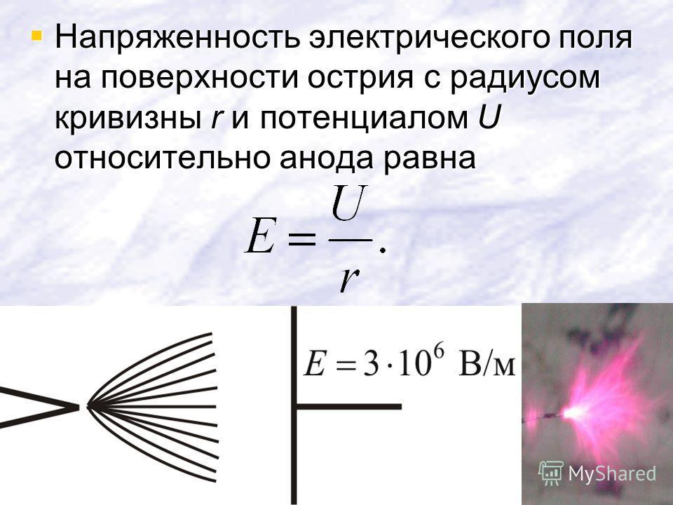 Напряженность электрического поля на поверхности острия с радиусом кривизны r и потенциалом U относительно анода равна Напряженность электрического поля на поверхности острия с радиусом кривизны r и потенциалом U относительно анода равна
