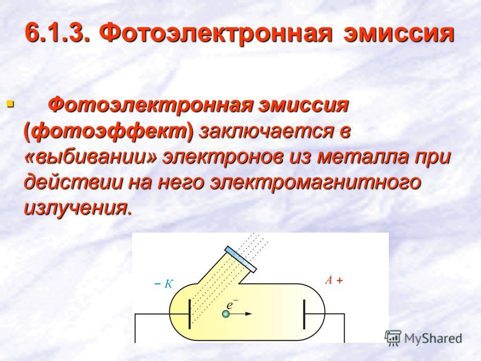 6.1.3. Фотоэлектронная эмиссия Фотоэлектронная эмиссия (фотоэффект) заключается в «выбивании» электронов из металла при действии на него электромагнитного излучения. Фотоэлектронная эмиссия (фотоэффект) заключается в «выбивании» электронов из металла