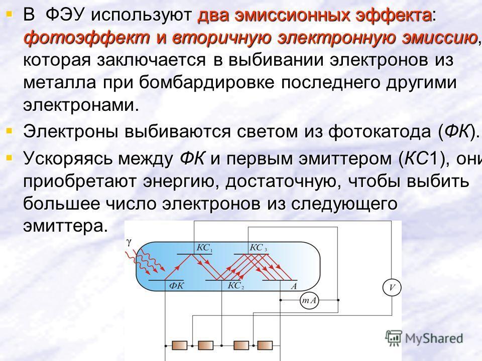 В ФЭУ используют два эмиссионных эффекта: фотоэффект и вторичную электронную эмиссию, которая заключается в выбивании электронов из металла при бомбардировке последнего другими электронами. В ФЭУ используют два эмиссионных эффекта: фотоэффект и втори