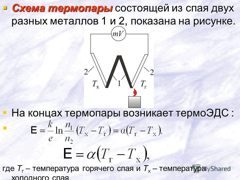 Схема термопары состоящей из спая двух разных металлов 1 и 2, показана на рисунке. Схема термопары состоящей из спая двух разных металлов 1 и 2, показана на рисунке. На концах термопары возникает термоЭДС : На концах термопары возникает термоЭДС : гд