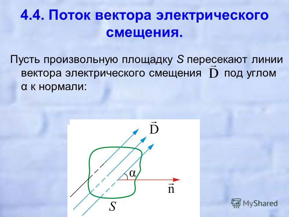 4.4. Поток вектора электрического смещения. Пусть произвольную площадку S пересекают линии вектора электрического смещения под углом α к нормали: