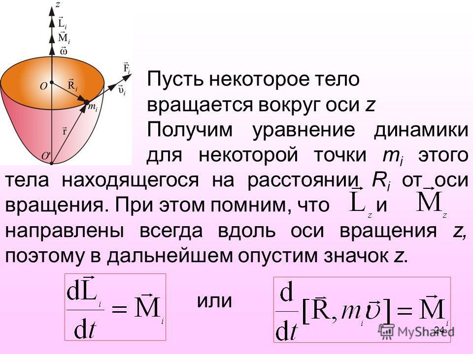 Пусть некоторое тело вращается вокруг оси z Получим уравнение динамики для некоторой точки m i этого тела находящегося на расстоянии R i от оси вращения. При этом помним, что и направлены всегда вдоль оси вращения z, поэтому в дальнейшем опустим знач