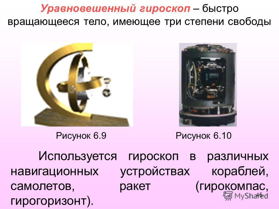 Рисунок 6.9 Рисунок 6.10 Используется гироскоп в различных навигационных устройствах кораблей, самолетов, ракет (гирокомпас, гирогоризонт). Уравновешенный гироскоп – быстро вращающееся тело, имеющее три степени свободы 45