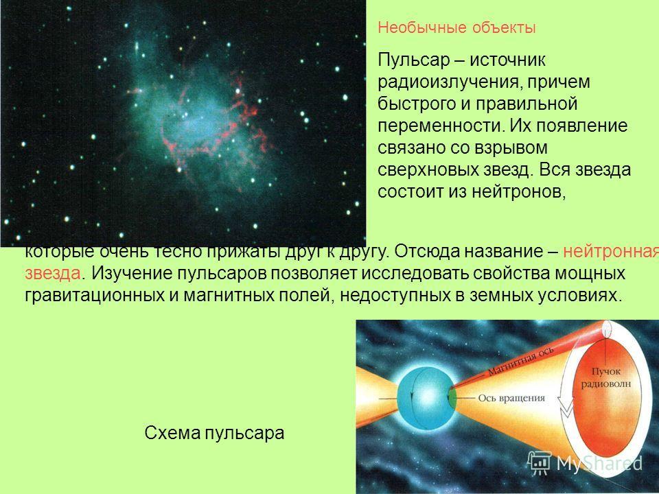 Необычные объекты Пульсар – источник радиоизлучения, причем быстрого и правильной переменности. Их появление связано со взрывом сверхновых звезд. Вся звезда состоит из нейтронов, которые очень тесно прижаты друг к другу. Отсюда название – нейтронная