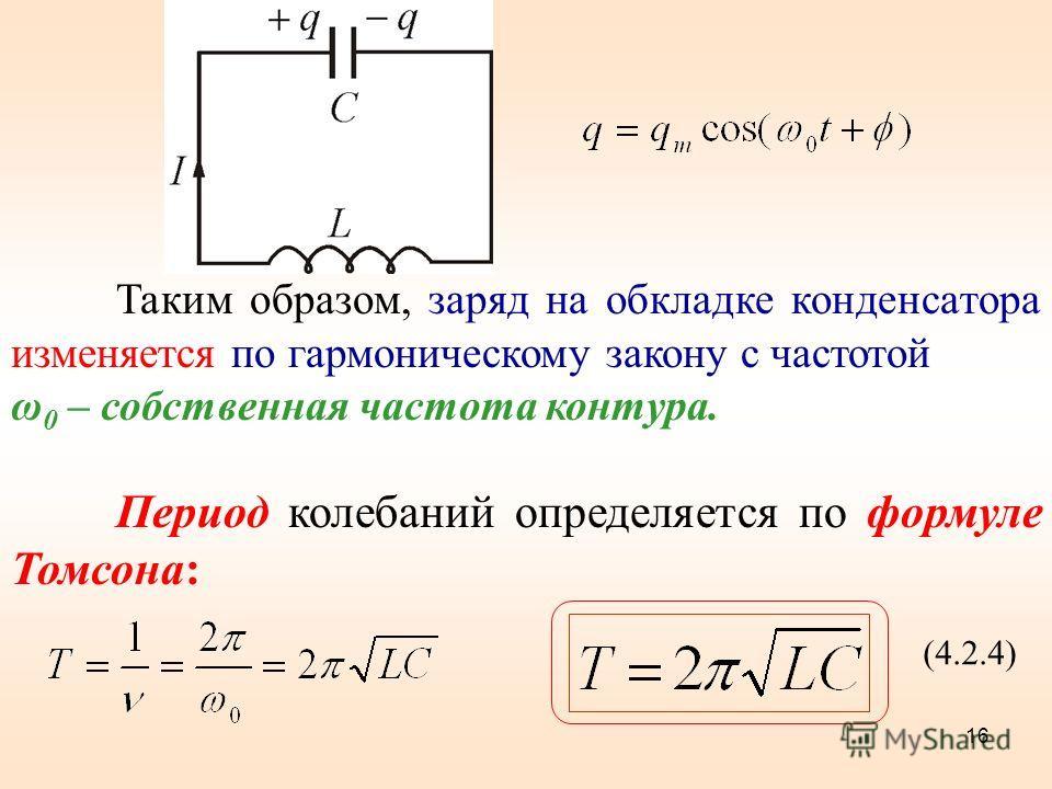 Таким образом, заряд на обкладке конденсатора изменяется по гармоническому закону с частотой ω 0 – собственная частота контура. Период колебаний определяется по формуле Томсона: (4.2.4) 16