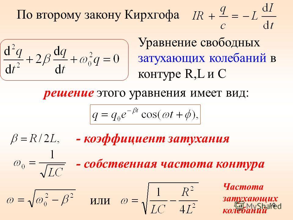 По второму закону Кирхгофа решение этого уравнения имеет вид: Уравнение свободных затухающих колебаний в контуре R,L и C - коэффициент затухания - собственная частота контура 19 или Частота затухающих колебаний