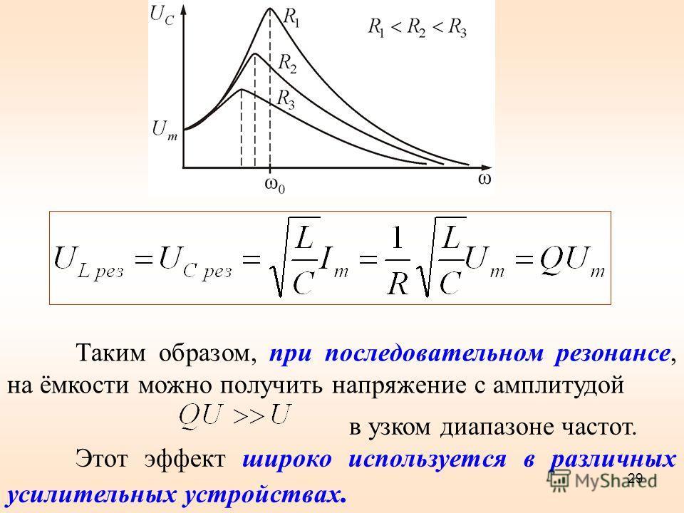 Таким образом, при последовательном резонансе, на ёмкости можно получить напряжение с амплитудой в узком диапазоне частот. Этот эффект широко используется в различных усилительных устройствах. 29
