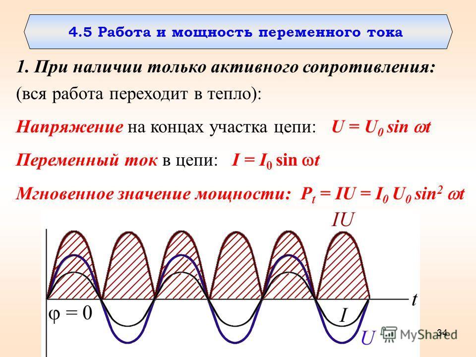 34 4.5 Работа и мощность переменного тока 1. При наличии только активного сопротивления: (вся работа переходит в тепло): Напряжение на концах участка цепи: U = U 0 sin t Переменный ток в цепи: I = I 0 sin t Мгновенное значение мощности: P t = IU = I