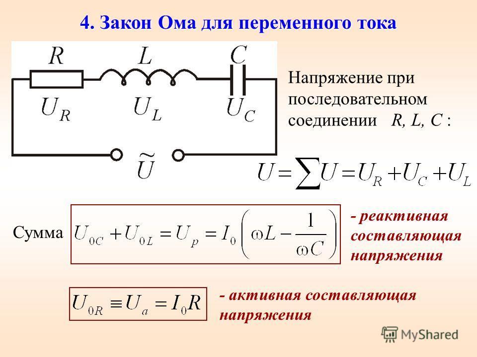 4. Закон Ома для переменного тока Напряжение при последовательном соединении R, L, C : Сумма - реактивная составляющая напряжения - активная составляющая напряжения