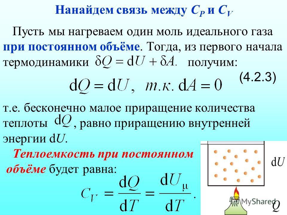 Пусть мы нагреваем один моль идеального газа при постоянном объёме. Тогда, из первого начала термодинамики получим: (4.2.3) т.е. бесконечно малое приращение количества теплоты, равно приращению внутренней энергии dU. Теплоемкость при постоянном объём