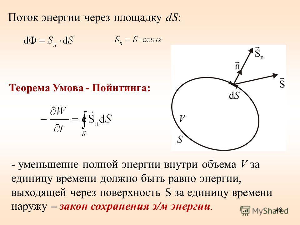 Поток энергии через единичную площадку, перпендикулярную направлению распростране- ния волны в единицу времени: Объемная плотность энергии w электромагнитной волны (6.4.1) Вектор плотности потока электромагнитной энергии называется вектором Умова - П