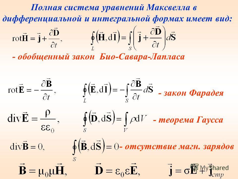 Самым большим научным достижением Максвелла является созданная им в 1860 – 1865 теория электромагнитного поля, которую он сформулировал в виде системы нескольких уравнений (уравнения Максвелла), выражающих все основные закономерности электромагнитных