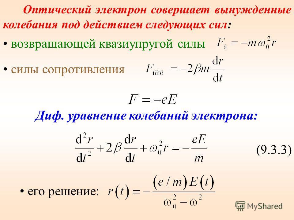 Для видимого света существует поляризация электрически упругого смещения. Смещаются в основном валентные электроны. В процессе вынужденных (под действием падающей световой волны) колебаний электронов с частотой ν (частота вынуждающей силы), периодиче