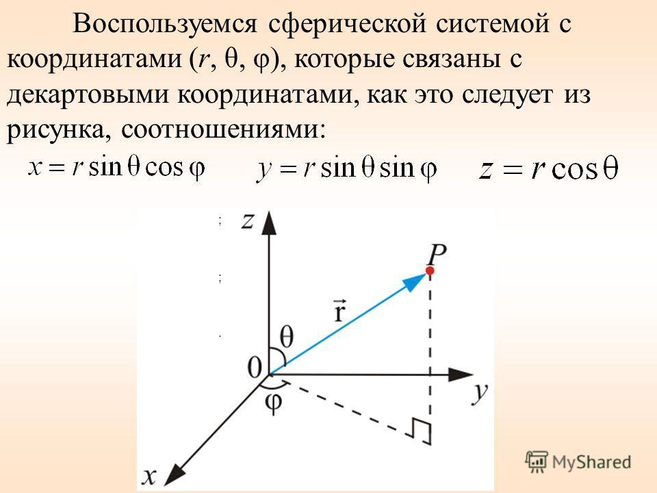 Рассмотрим (без вывода) движение электрона в потенциальном поле Стационарное уравнение Шредингера х (1) Так как электрическое поле – центрально- симметрично, то для решения этого уравнения воспользуемся сферической системой координат: r, θ, φ.