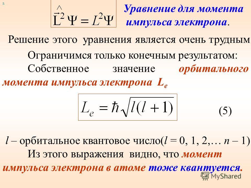 х Для момента импульса в квантовой механике вводятся четыре оператора: оператор квадрата момента импульса и три оператора проекций момента импульса на оси координат Воздействуя на Ψ – функцию, полученную при решении уравнения (2) оператором момента и
