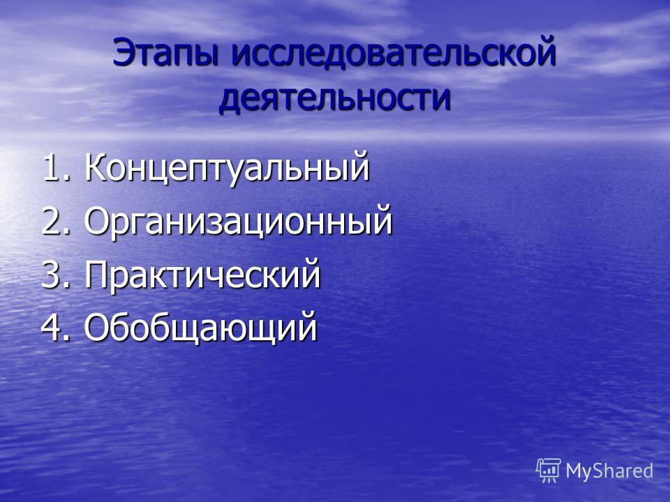 Этапы исследовательской деятельности 1. Концептуальный 2. Организационный 3. Практический 4. Обобщающий