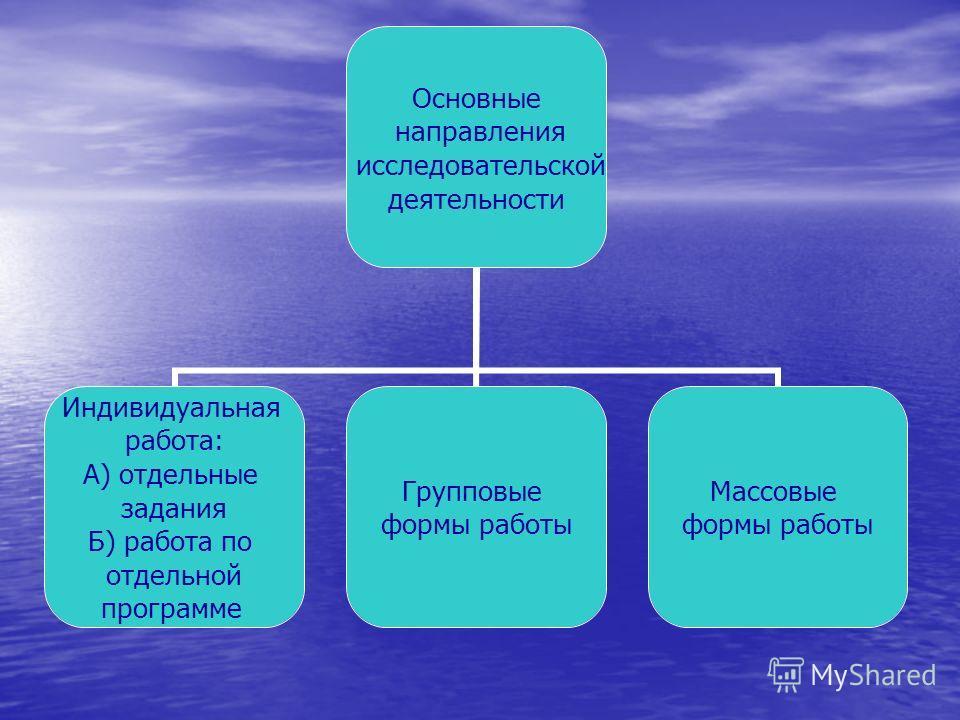 Основные направления исследовательской деятельности Индивидуальная работа: А) отдельные задания Б) работа по отдельной программе Групповые формы работы Массовые формы работы