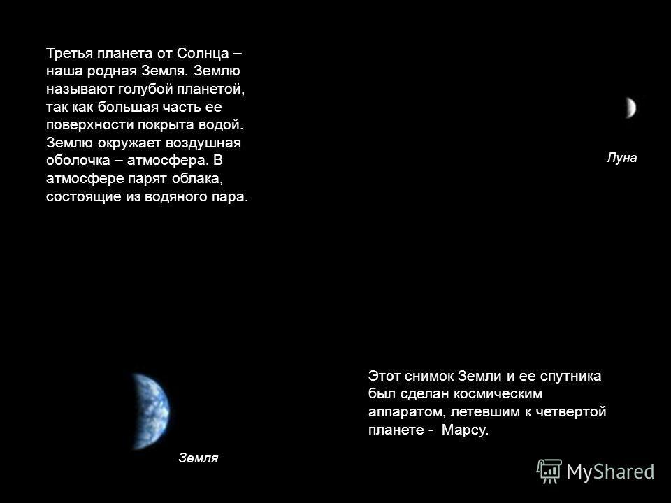 Третья планета от Солнца – наша родная Земля. Землю называют голубой планетой, так как большая часть ее поверхности покрыта водой. Землю окружает воздушная оболочка – атмосфера. В атмосфере парят облака, состоящие из водяного пара. Земля Луна Этот сн