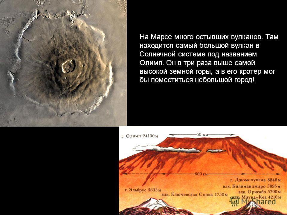 На Марсе много остывших вулканов. Там находится самый большой вулкан в Солнечной системе под названием Олимп. Он в три раза выше самой высокой земной горы, а в его кратер мог бы поместиться небольшой город!