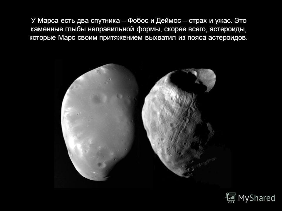 У Марса есть два спутника – Фобос и Деймос – страх и ужас. Это каменные глыбы неправильной формы, скорее всего, астероиды, которые Марс своим притяжением выхватил из пояса астероидов.