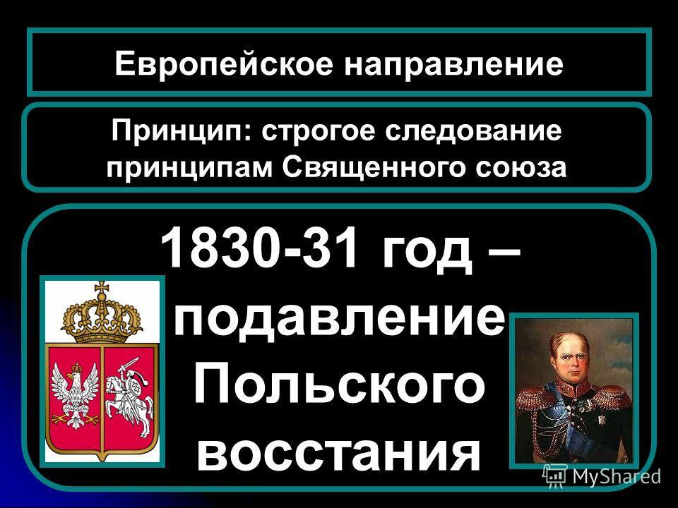 1830-31 год – подавление Польского восстания Европейское направление Принцип: строгое следование принципам Священного союза
