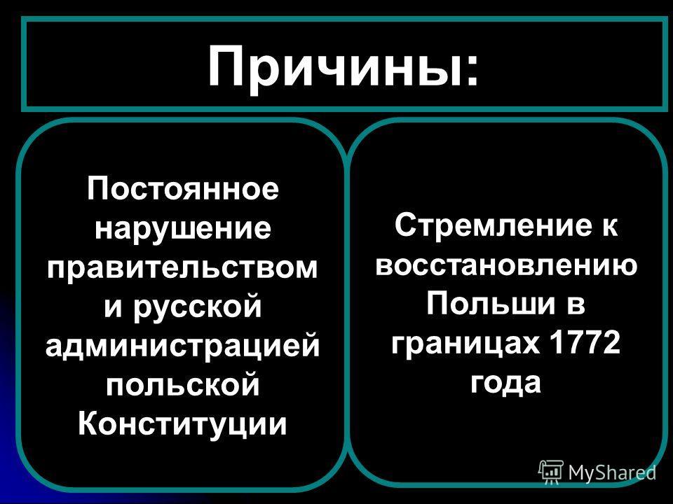 Причины: Постоянное нарушение правительством и русской администрацией польской Конституции Стремление к восстановлению Польши в границах 1772 года