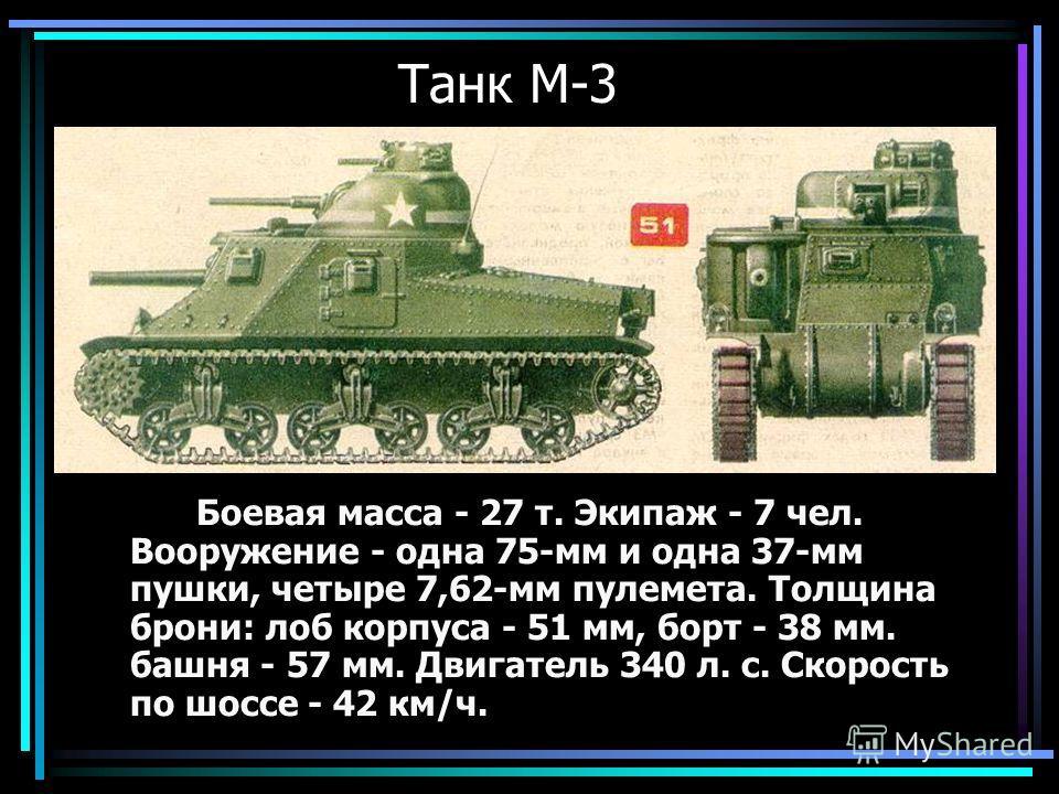 Танк М-3 Боевая масса - 27 т. Экипаж - 7 чел. Вооружение - одна 75-мм и одна 37-мм пушки, четыре 7,62-мм пулемета. Толщина брони: лоб корпуса - 51 мм, борт - 38 мм. башня - 57 мм. Двигатель 340 л. с. Скорость по шоссе - 42 км/ч.