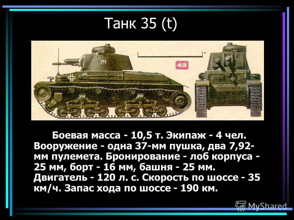 Танк 35 (t) Боевая масса - 10,5 т. Экипаж - 4 чел. Вооружение - одна 37-мм пушка, два 7,92- мм пулемета. Бронирование - лоб корпуса - 25 мм, борт - 16 мм, башня - 25 мм. Двигатель - 120 л. с. Скорость по шоссе - 35 км/ч. Запас хода по шоссе - 190 км.