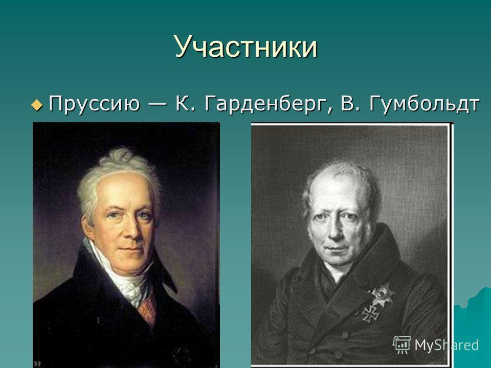 Участники Пруссию К. Гарденберг, В. Гумбольдт Пруссию К. Гарденберг, В. Гумбольдт