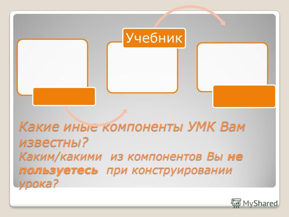 Какие иные компоненты УМК Вам известны? Каким/какими из компонентов Вы не пользуетесь при конструировании урока? Учебник