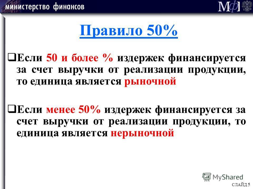 СЛАЙД 5 Правило 50% Если 50 и более % издержек финансируется за счет выручки от реализации продукции, то единица является рыночной Если менее 50% издержек финансируется за счет выручки от реализации продукции, то единица является нерыночной
