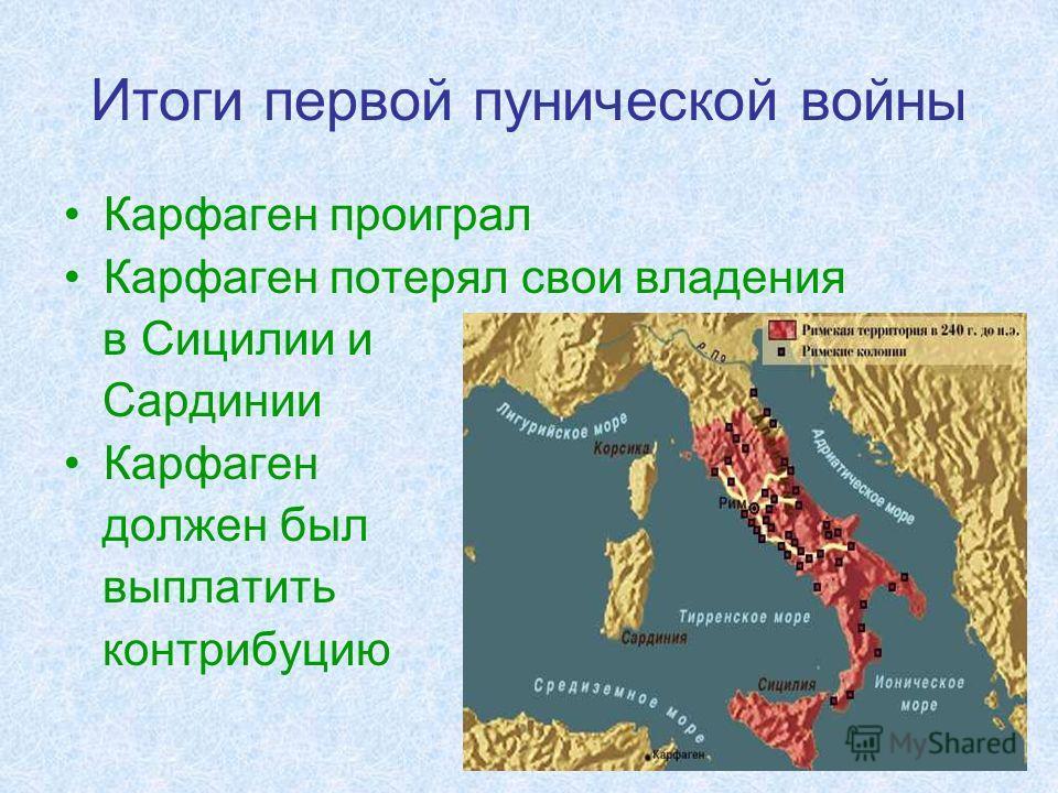 Итоги первой пунической войны Карфаген проиграл Карфаген потерял свои владения в Сицилии и Сардинии Карфаген должен был выплатить контрибуцию