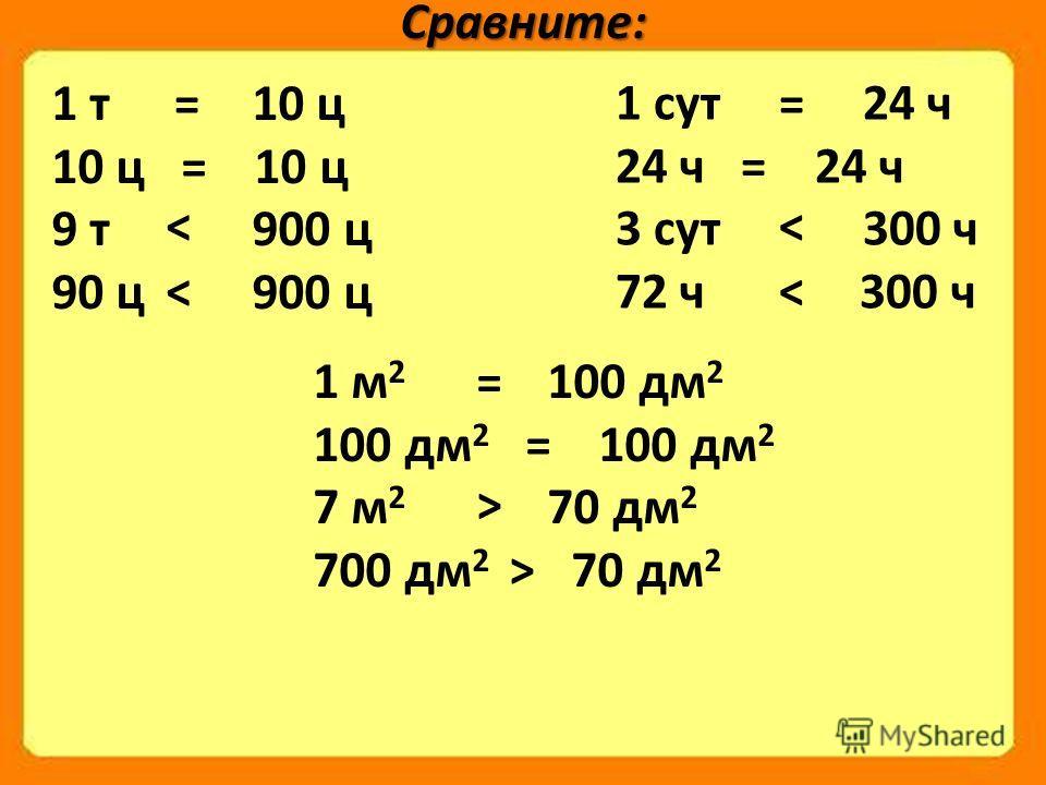 Сравните: 1 т 10 ц 10 ц = 10 ц 9 т 900 ц 90 ц 900 ц = < < 1 сут 24 ч 24 ч = 24 ч 3 сут 300 ч 72 ч 300 ч = < < 1 м 2 100 дм 2 100 дм 2 = 100 дм 2 7 м 2 70 дм 2 700 дм 2 70 дм 2 = > >