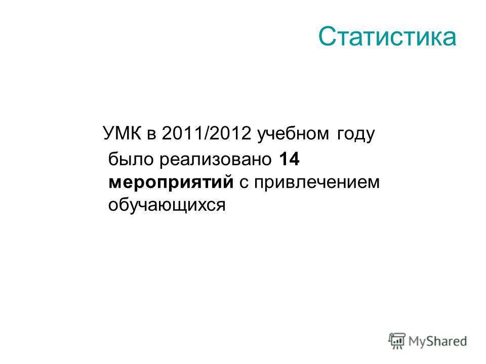 УМК в 2011/2012 учебном году было реализовано 14 мероприятий с привлечением обучающихся Статистика
