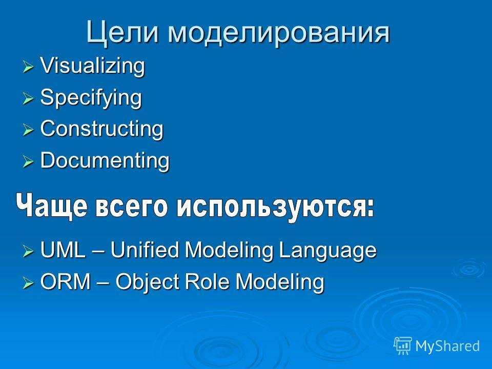 UML – Unified Modeling Language UML – Unified Modeling Language ORM – Object Role Modeling ORM – Object Role Modeling Visualizing Visualizing Specifying Specifying Constructing Constructing Documenting Documenting Цели моделирования