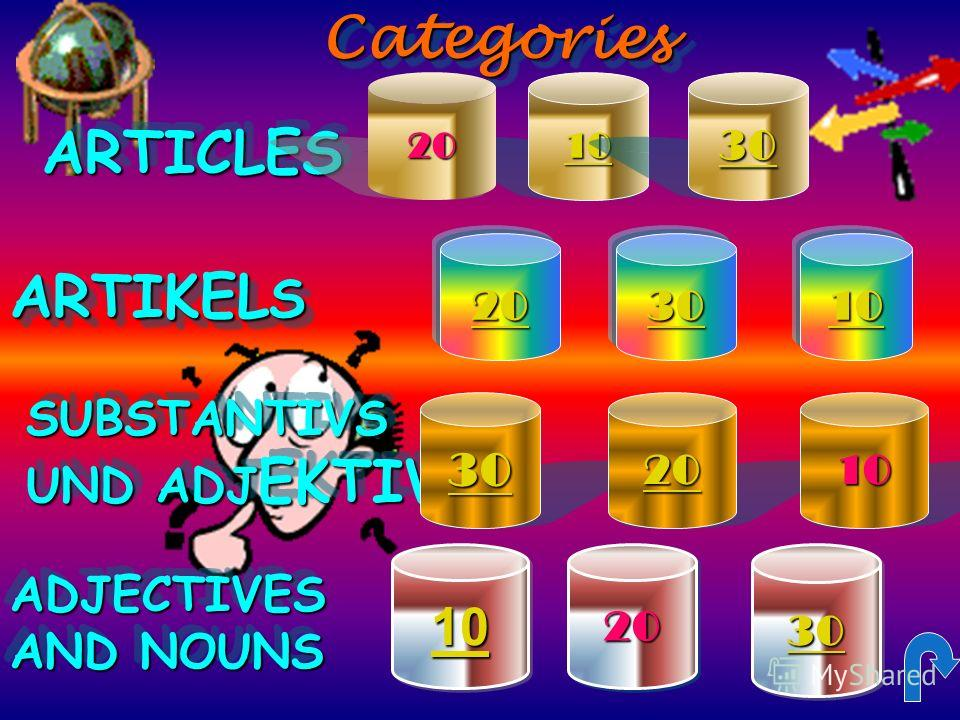 CategoriesCategoriesARTICLESARTICLES ARTIKEL S SUBSTANTIVS UND ADJ EKTIVS SUBSTANTIVS ADJECTIVES AND NOUNS ADJECTIVES 10 30 20 10 20 10 30 20 30 20