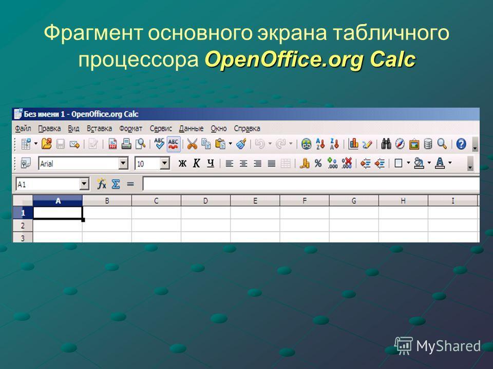 OpenOffice.org Calc Фрагмент основного экрана табличного процессора OpenOffice.org Calc