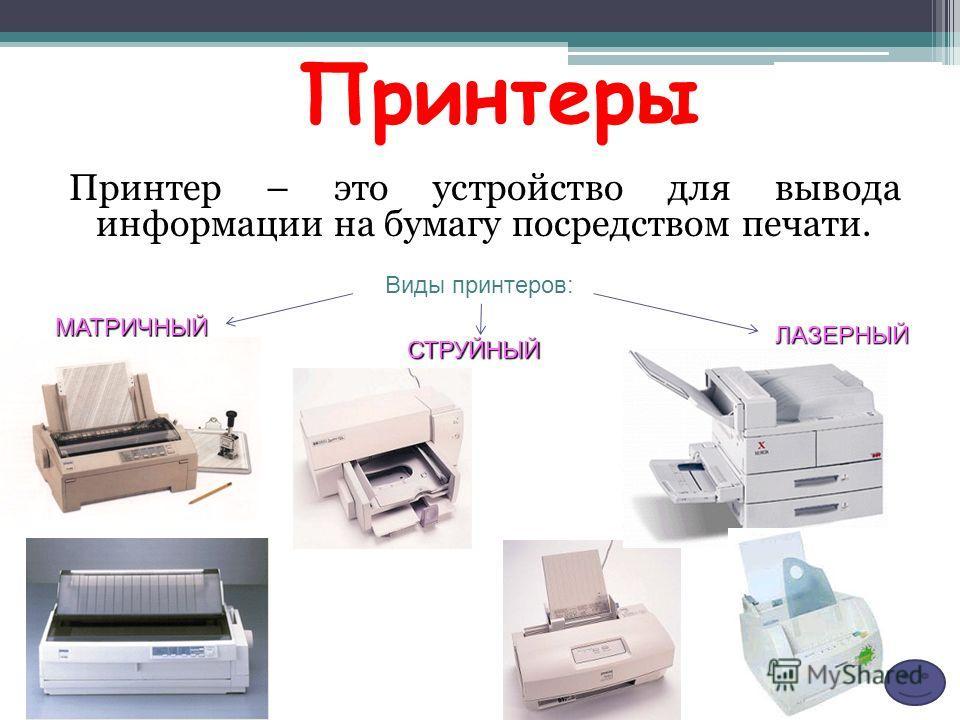 Принтер – это устройство для вывода информации на бумагу посредством печати. МАТРИЧНЫЙ СТРУЙНЫЙ ЛАЗЕРНЫЙ Принтеры Виды принтеров: