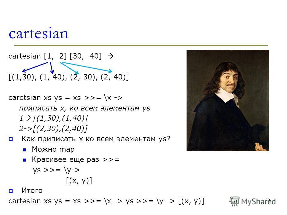 cartesian cartesian [1, 2] [30, 40] [(1,30), (1, 40), (2, 30), (2, 40)] caretsian xs ys = xs >>= \x -> приписать x, ко всем элементам ys 1 [(1,30),(1,40)] 2->[(2,30),(2,40)] Как приписать x ко всем элементам ys? Можно map Красивее еще раз >>= ys >>=