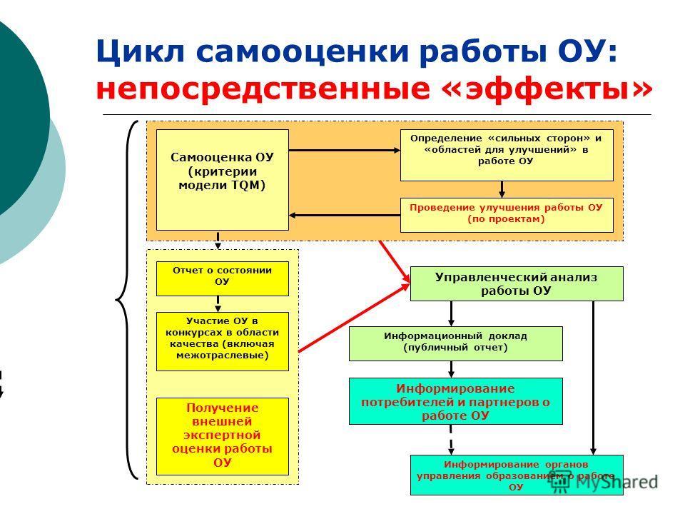 Цикл самооценки работы ОУ: непосредственные «эффекты» Самооценка ОУ (критерии модели TQM) Определение «сильных сторон» и «областей для улучшений» в работе ОУ Проведение улучшения работы ОУ (по проектам) Управленческий анализ работы ОУ Информационный