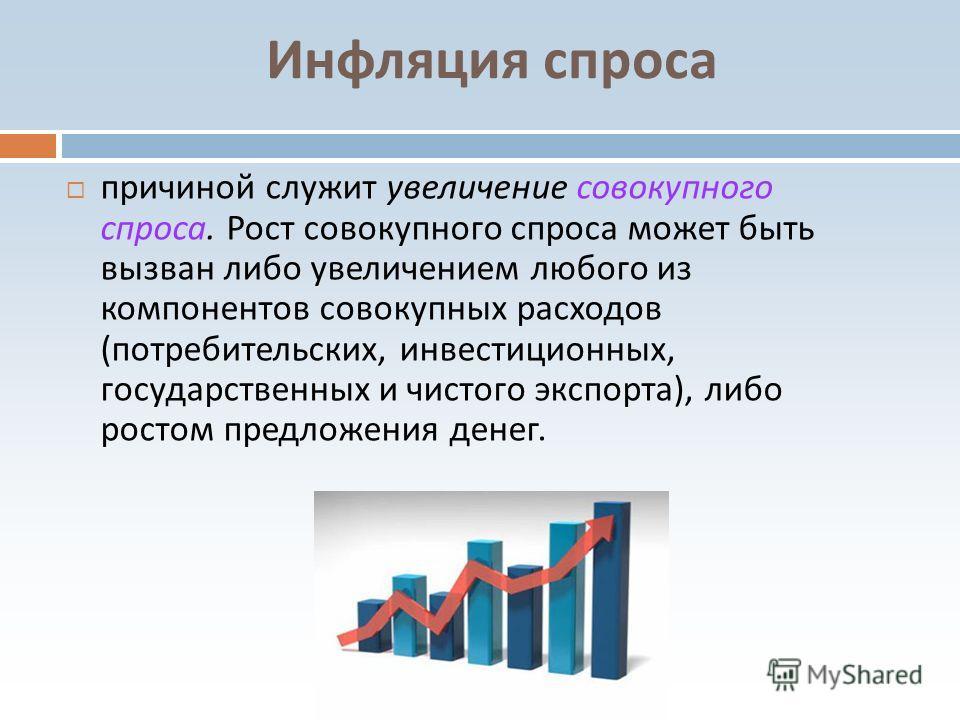 Инфляция спроса причиной служит увеличение совокупного спроса. Рост совокупного спроса может быть вызван либо увеличением любого из компонентов совокупных расходов ( потребительских, инвестиционных, государственных и чистого экспорта ), либо ростом п