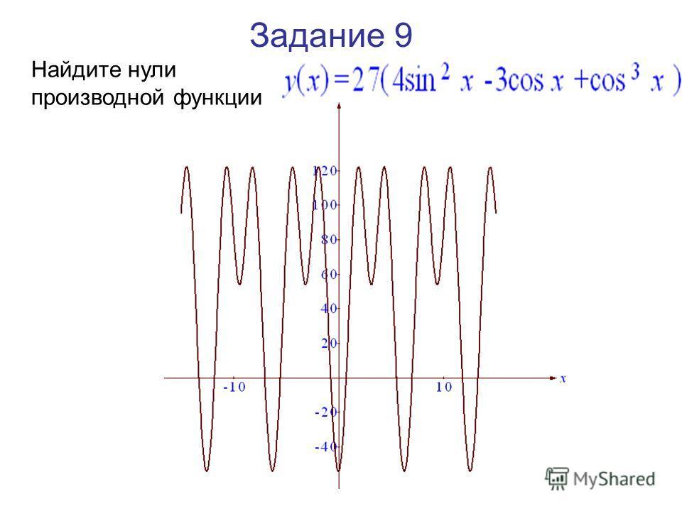 Задание 9 Найдите нули производной функции