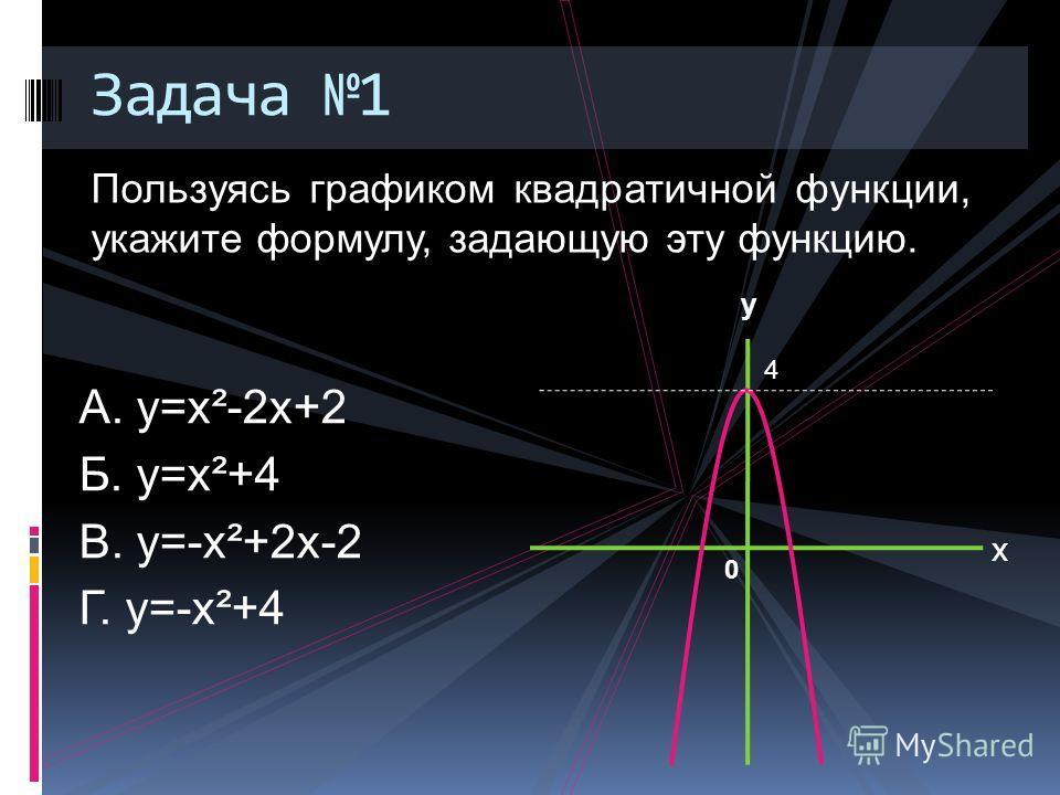 Пользуясь графиком квадратичной функции, укажите формулу, задающую эту функцию. Задача 1 А. у=х²-2х+2 Б. у=х²+4 В. у=-х²+2х-2 Г. у=-х²+4 Х у 0 4