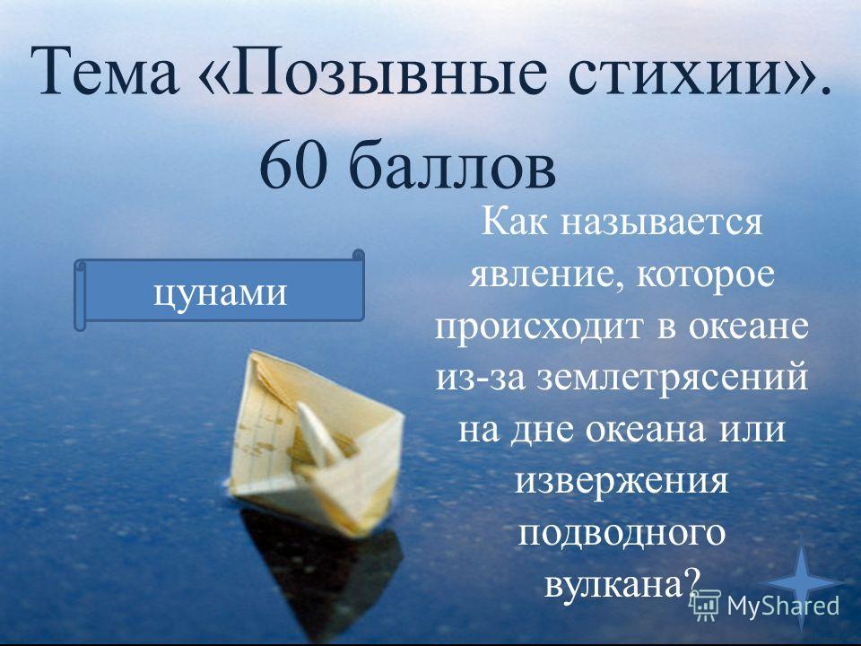 Тема «Позывные стихии». 60 баллов Как называется явление, которое происходит в океане из-за землетрясений на дне океана или извержения подводного вулкана? цунами
