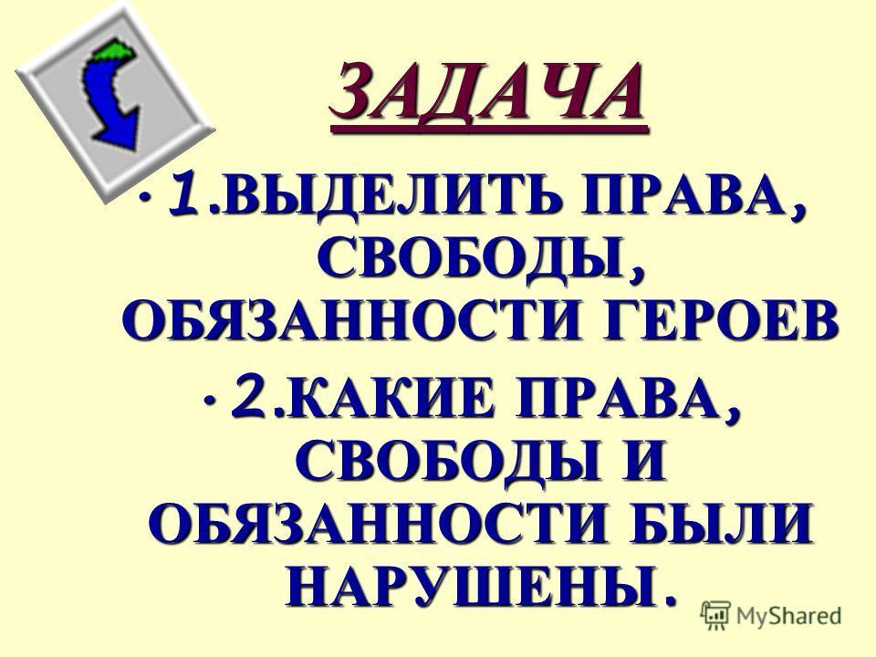 ЗАДАЧА 1. ВЫДЕЛИТЬ ПРАВА, СВОБОДЫ, ОБЯЗАННОСТИ ГЕРОЕВ1. ВЫДЕЛИТЬ ПРАВА, СВОБОДЫ, ОБЯЗАННОСТИ ГЕРОЕВ 2. КАКИЕ ПРАВА, СВОБОДЫ И ОБЯЗАННОСТИ БЫЛИ НАРУШЕНЫ.2. КАКИЕ ПРАВА, СВОБОДЫ И ОБЯЗАННОСТИ БЫЛИ НАРУШЕНЫ.