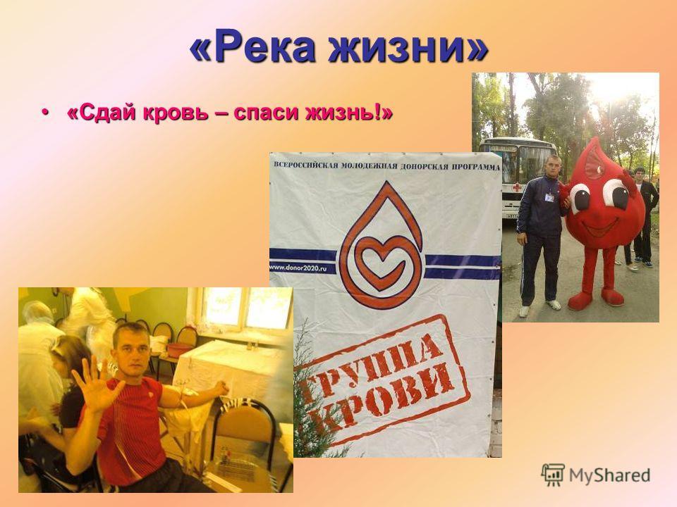 «Река жизни» «Сдай кровь – спаси жизнь!»«Сдай кровь – спаси жизнь!»