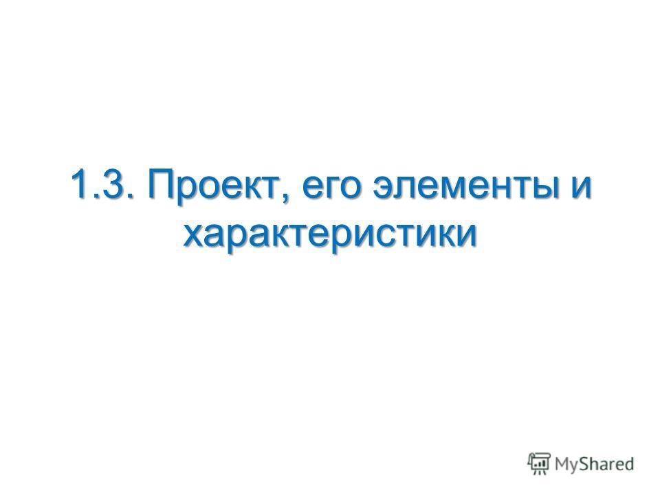 1.3. Проект, его элементы и характеристики