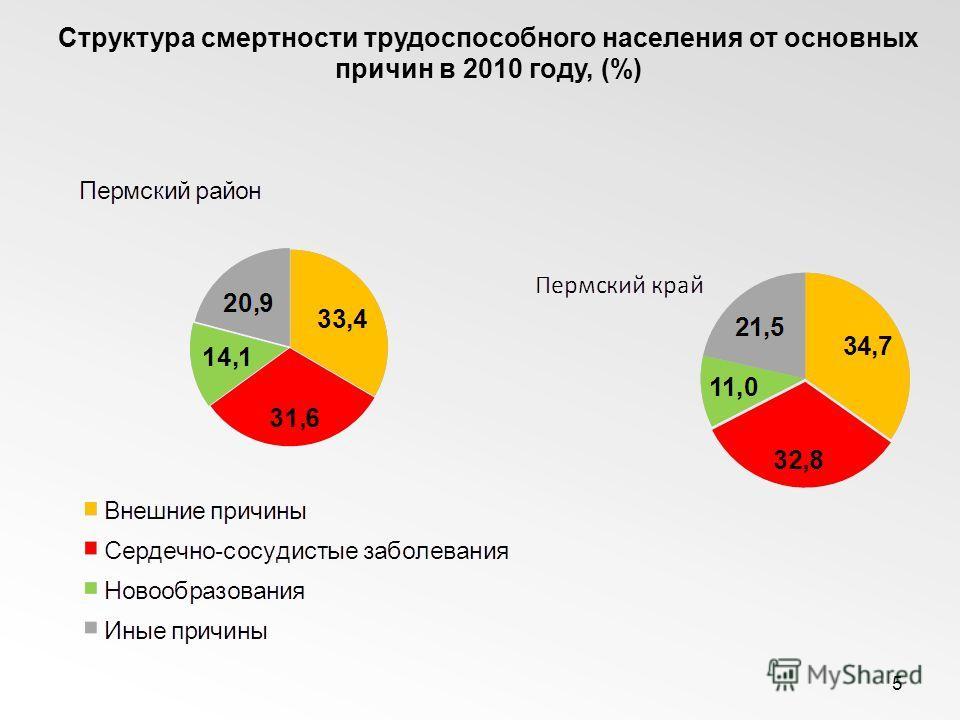 5 Структура смертности трудоспособного населения от основных причин в 2010 году, (%)